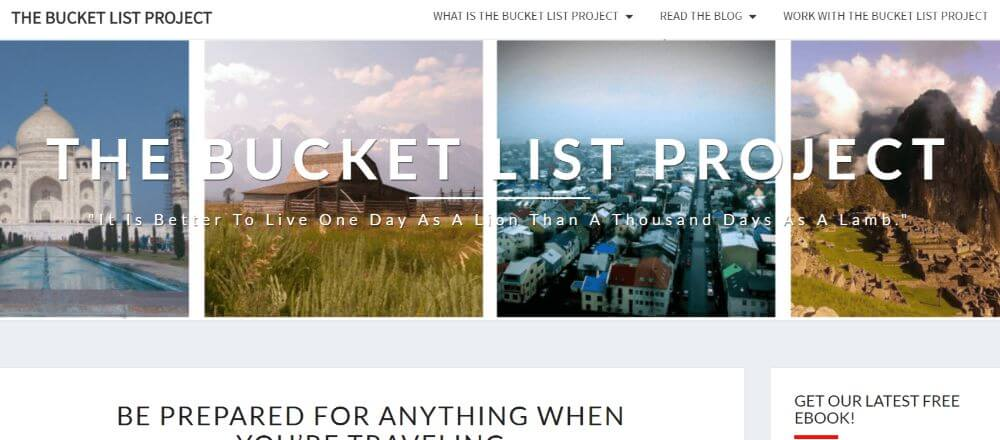 Homepage of the bucket list project blog