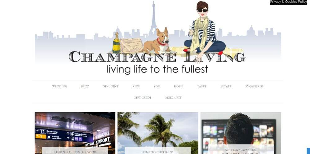 Champagne Living blog homepage screenshot