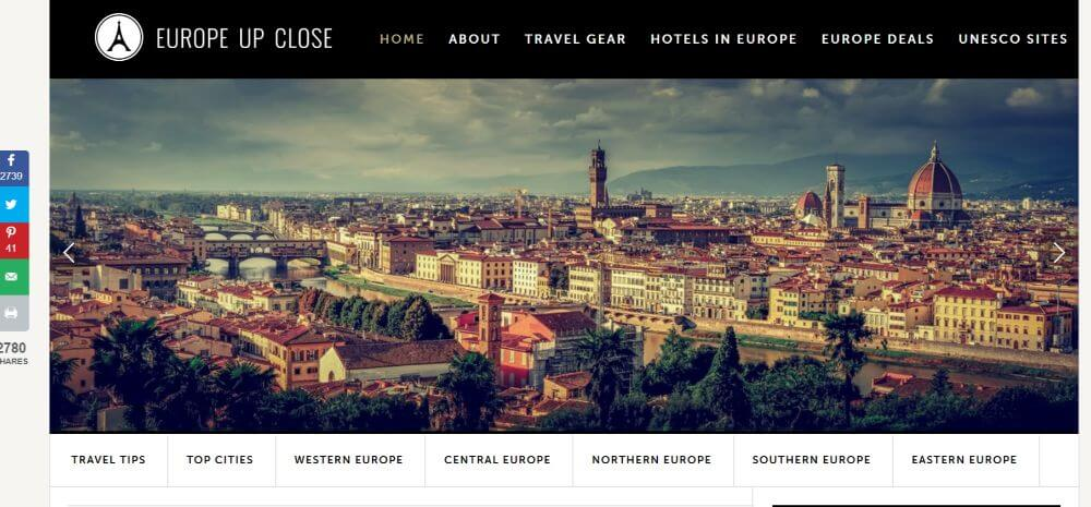 Europe up close homepage screenshot, travel blog design