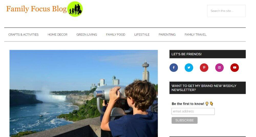 Family Focus Travel Blog homepage design