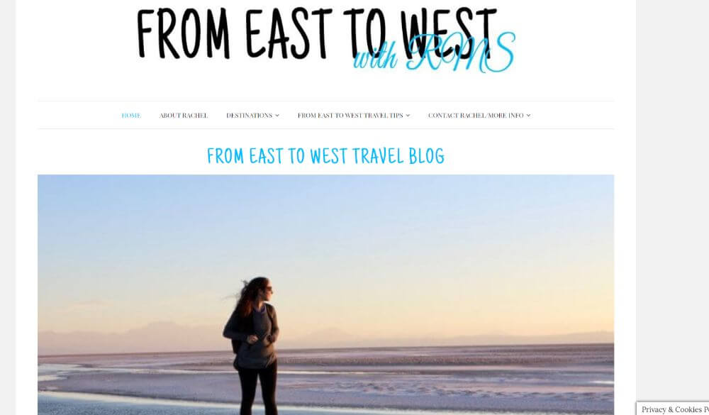 From East to West Travel Blog homepage screenshot