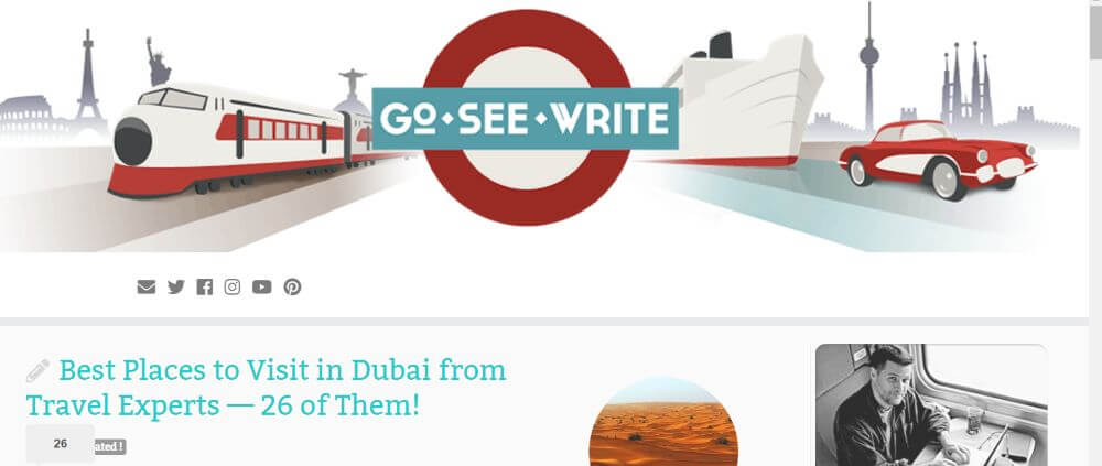 Go See Write travel blog homepage