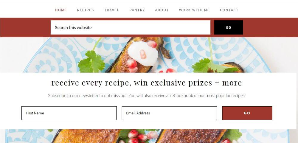 Greedy Gourmet culinary and travel blog homepage design