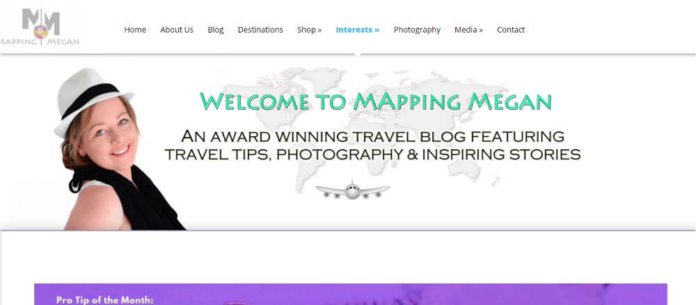Mapping Megan travel blog homepage design