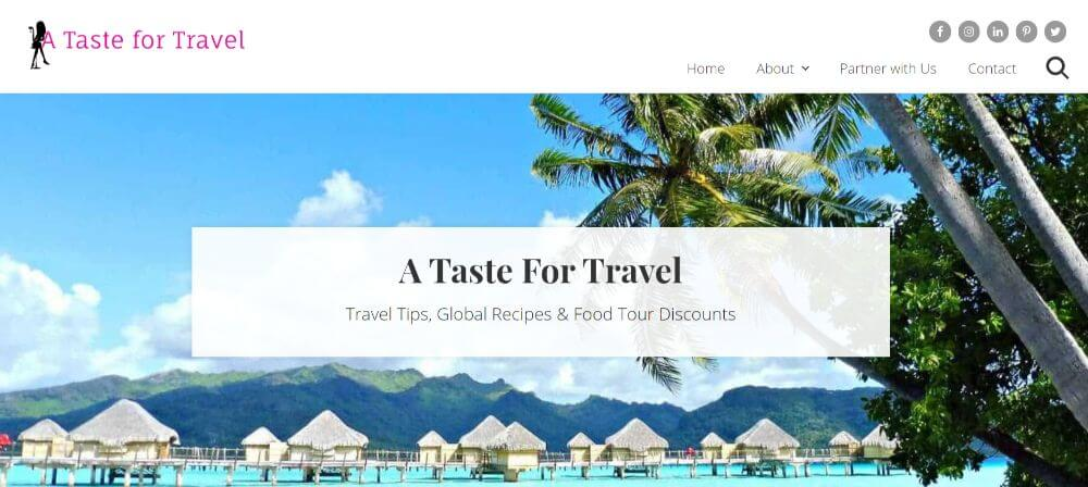 taste for travel blog homepage