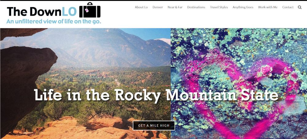the down lo travel influencer website homepage