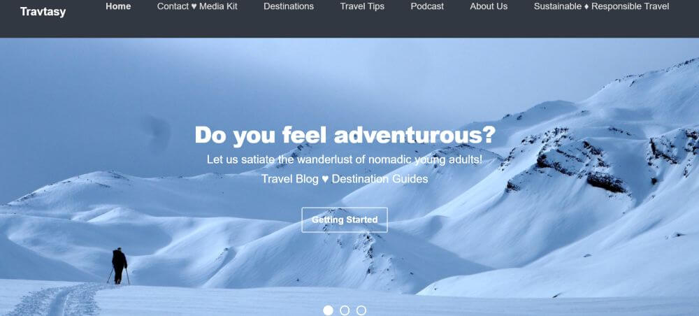 TravTasy travel blog homepage screenshot