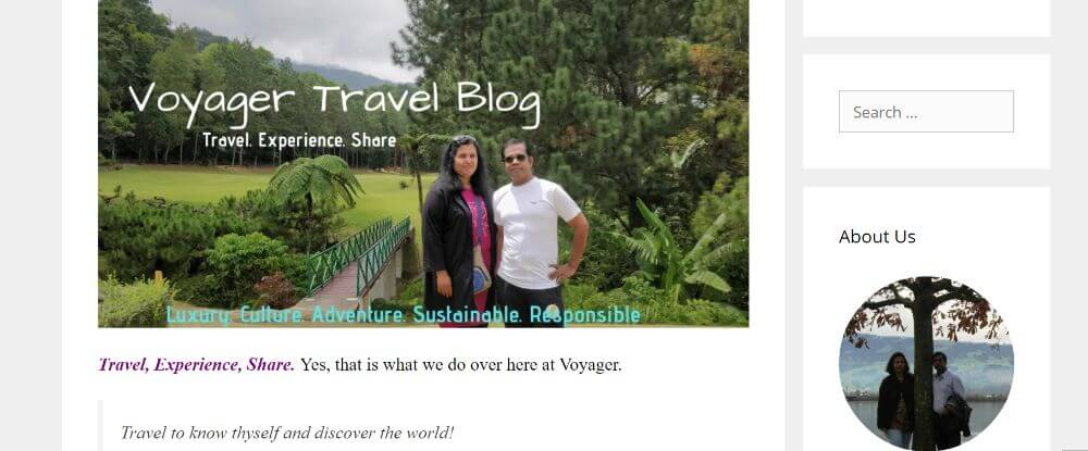 Voyager travel blog homepage screenshot