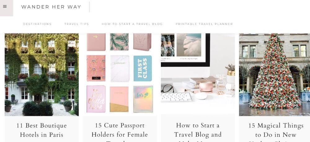 Wander her way travel blogger homepage