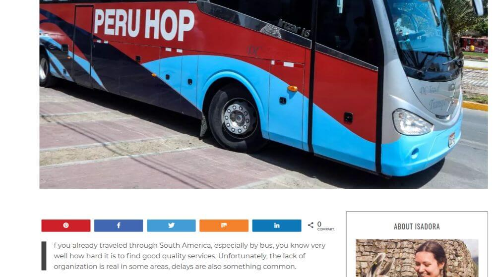 Peru hop bus company collaboration with World by Isa travel blogger